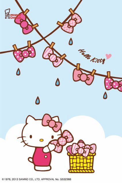 b1111c398 hello kitty washing her bows and hanging them to dry