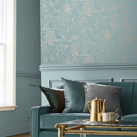 Basuto Duck Egg Wallpaper Wallpaper Blue Living Room Decor