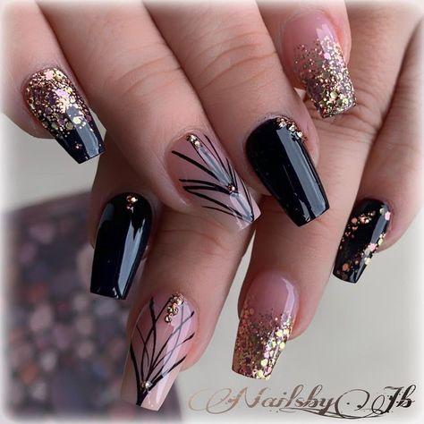 #nails #uñas #shorties #blacknails #shiny #rosegold - #blacknails #Nails #Roségold #shiny #shorties #uñas
