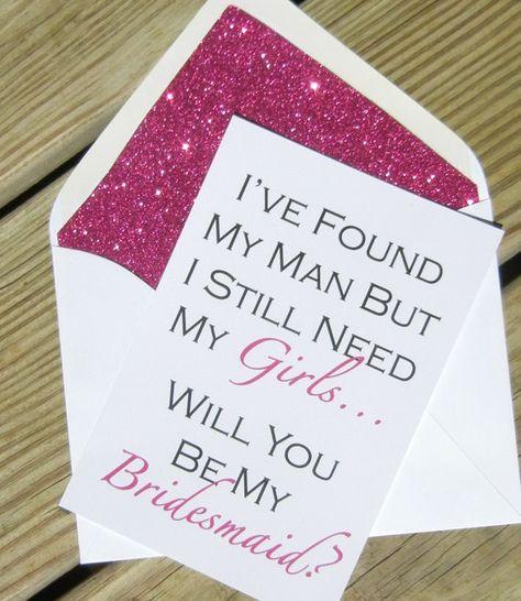 Be My Bridesmaid Card // Fuchsia Glitter by PinkChampagnePaper