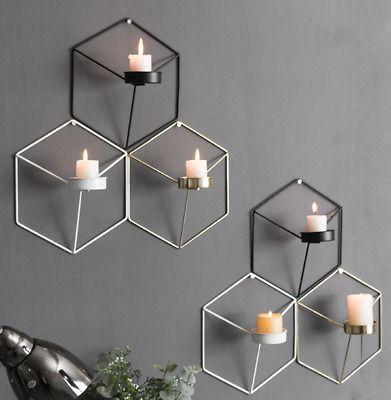 Ebay Link 3d Geometric Wall Mounted Candle Holder Metal Tea Light