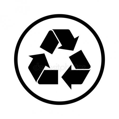 Simple Black Recycle Symbol Circle Recycle Sign Icon Logo White