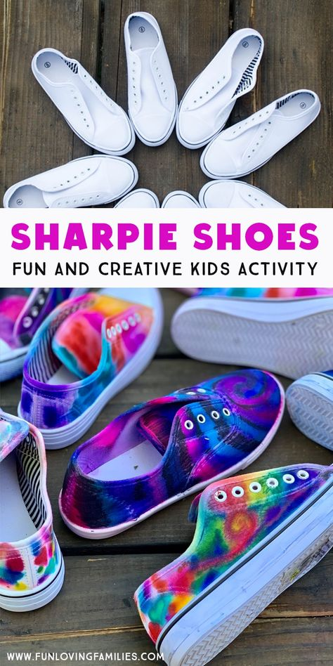 DIY Sharpie Tie Dye Shoes - Fun Loving Families - DIY Sharpie Shoes are . - DIY Sharpie Tie Dye Shoes – Fun Loving Families – DIY Sharpie Shoes are a fun and creative summ - Sharpie Tie Dye, Sharpie Shoes, Sharpie Crafts, Sharpie Projects, Sharpie Markers, Tie Dye With Sharpies, Creative Activities For Kids, Summer Activities For Kids, Craft Ideas