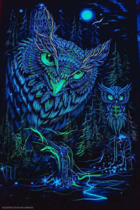 Owl Blacklight Art Nature UV Fluorescent Glow via Fractalika on Etsy