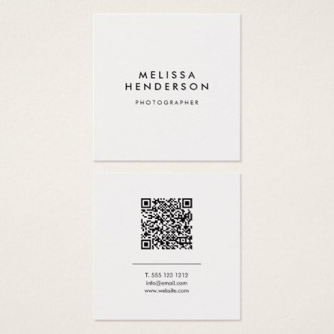 Minimalist Modern Qr Code Square Business Card Zazzle Com With