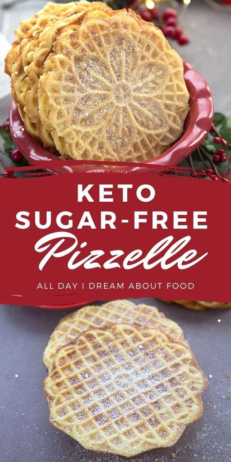 Sugar Free Desserts, Sugar Free Recipes, Keto Recipes, Sugar Free Pizzelle Recipe, Sugar Free Treats, Crockpot Recipes, Low Carb Sweets, Low Carb Desserts, Keto Cookies