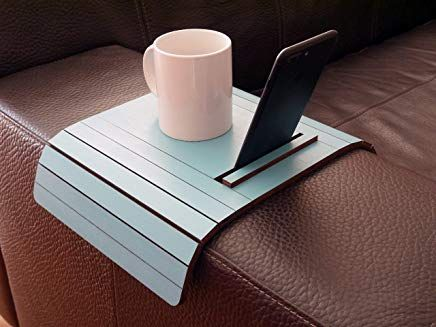Wooden Slinky Sofa Table For Armrest With Smartphone And Tablet Stand In Many Colors As Turquoise Small Flexible Over T Design Moderno Tavolini
