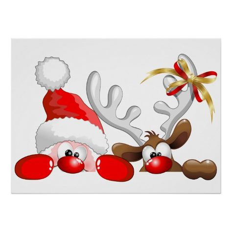 Funny Santa and Reindeer Cartoon Poster