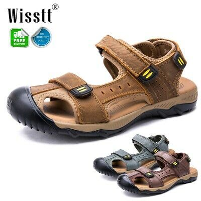 Vintage Men Roman Leather Causal Close Toe Beach Fisherman Beach Sandals Shoes