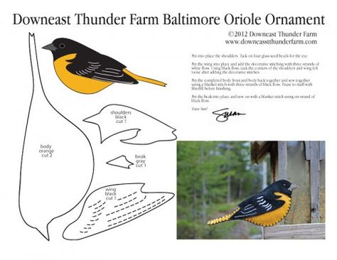 Baltimore Oriole Free Felt Ornament Pattern, Stuffed Animal Pattern, How to Make a Toy Animal Plushie Tutorial Plushies Tutorial , BIRDS Diy Projects, Sewing Template , animals, plush, soft, plush, toy, pattern, template, sewing, diy , crafts, kawaii, cute, sew, pattern,free bird template, bird, handmade, free pdf