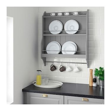 Tornviken Grey Plate Shelf Ikea Plate Shelves Kitchen Wall Storage Kitchen Shelves