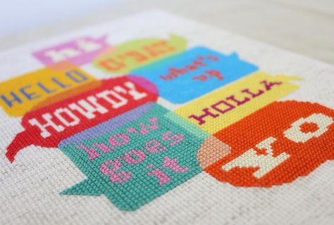 Greetings - Welcome sign - Cross stitch sampler pattern PDF. $6.00, via Etsy.