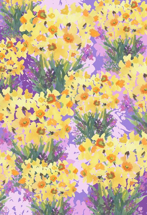 Daffodil Field by Pamela Gatens Watercolor ~ 13 x 19 Painting Wallpaper, Pastel Wallpaper, Wallpaper Backgrounds, Impression Textile, Illustration Blume, Aesthetic Art, Daffodils, Aesthetic Wallpapers, Cute Wallpapers
