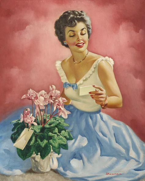1940s Lovely Pin Up Girl Picture by Erbit Woman w// Flowers Embossed Image
