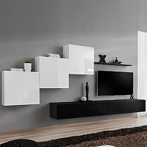 Kasalinea Meuble Tv Suspendu Blanc Et Noir Duccio En 2020 Meuble Tv Suspendu Meuble Tv Meuble Mural