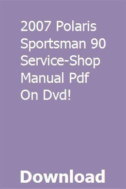 2007 Polaris Sportsman 90 Service Shop Manual Pdf On Dvd Chilton Repair Manual Dvd Excavator For Sale