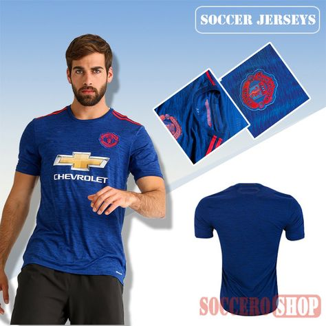 1ff49c44f Latest Manchester United Blue 2016 2017 Away Soccer Jersey Replica Bargain  From China