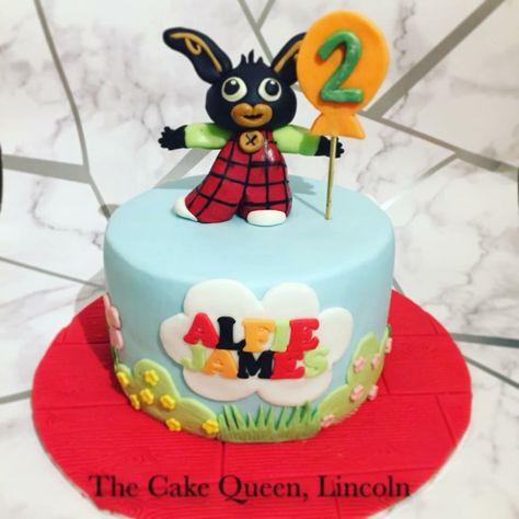 Bing bunny cake with fondant Bing cake topper