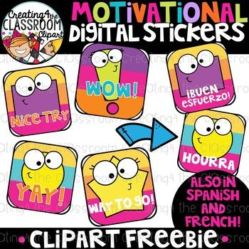 Free Digital Stickers Clipart Distance Learning Digital Sticker Teacher Stickers Distance Learning