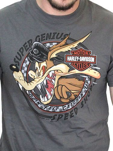 Coyote Speed Short Sleeve Grey T-Shirt Harley-Davidson Looney Tunes Mens Wile E