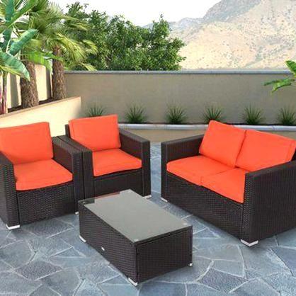 Kinbor 4pcs Outdoor Patio Furniture Pe Wicker Rattan Sofa Sectional Set Image 1 Of 7 Em 2020
