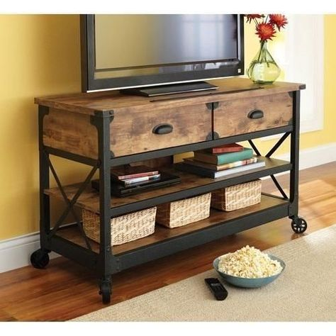 Rustic Tv Stand Console Drawers Industrial Vintage Metal Wood