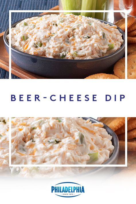 get all the high-fives when you make this Beer-Cheese Dip. Just combine Philly, cheddar cheese, ranch dressing, beer and green onions for the ultimate dip. Yummy Appetizers, Appetizers For Party, Appetizer Recipes, Party Dips, Appetizer Dips, Dip Recipes, Recipies, Beer Cheese, Cheddar Cheese