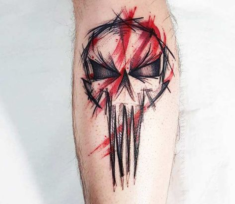 Black and red sketch tattoo style of The Punisher skull motive done by tattoo artist Kerste Diston | Post 23951 | World Tattoo Gallery - Best place to Tattoo Arts