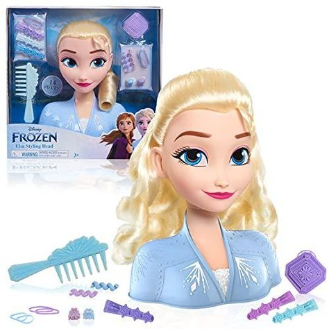 Disney Frozen 2 Elsa Styling Head, 14-Pieces Include Wear and Share Accessories, Blonde, Hair Styling for Kids by Just Play - Multi-color