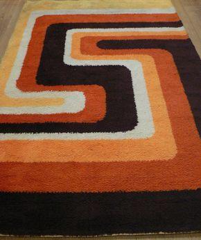 60s Rya Pure Wool Rug Orange Psychedelic 50s 70s Retro Vintage Danish Modernist Retro Rugs Rugs On Carpet Modern Colorful Rugs