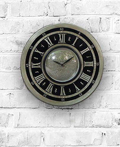 Ornate Meenakari Silver Black Colored Decorative Wall Clock With Roman Numeral Clock Face 12 Inch Roman Numeral Clock Face Clock Wall Decor Clock