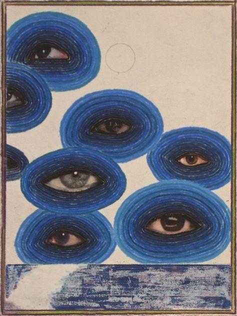 "daviddupuis: "" ""Seven"" 2006 Color pencil and collage on paper. Kunst Inspo, Art Inspo, Art And Illustration, Arte Indie, Arte Cyberpunk, Art Hoe, Psychedelic Art, Art Sketchbook, Aesthetic Art"