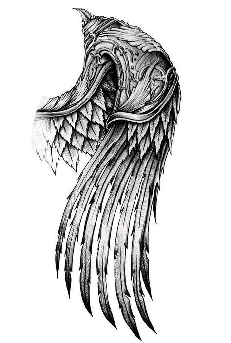 ornate wing by AYEUHONE – # - tattoo sleeve ideas Schulterpanzer Tattoo, Alas Tattoo, Norse Tattoo, Viking Tattoos, Samoan Tattoo, Celtic Dragon Tattoos, Hawk Tattoo, Chest Tattoo, Wing Tattoo Men