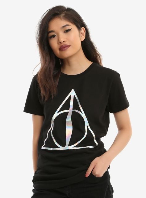 Harry Potter Deathly Hallows Black Juniors Graphic T-shirt New