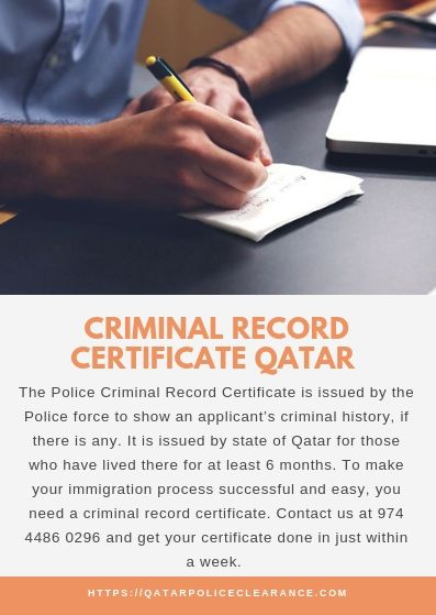 The Police Criminal Record Certificate is issued by the Police force