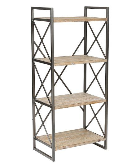 The Shelves Of This Bookcase Offer Warmth To Decor While The Dark