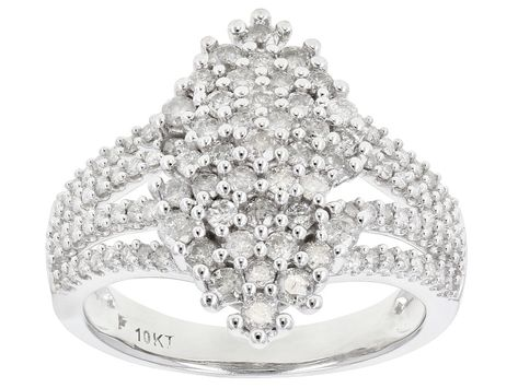 White Diamond 10k White Gold Ring 1 10ctw Docn647 White Gold Rings White Gold Gold Rings