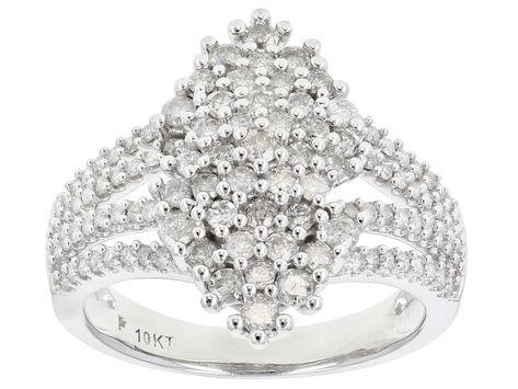 White Diamond 10k White Gold Ring 1 10ctw Docn647 White Gold Rings White Gold Gold Rings