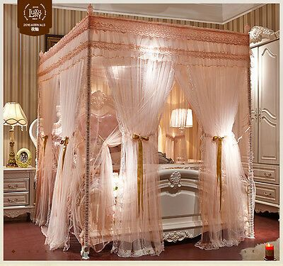 Luxury Bed Canopy Curtain Valance Double Layers Stainless Steel Frame Queen King Ebay Luxury Bedding Canopy Curtains Relaxing Bedroom