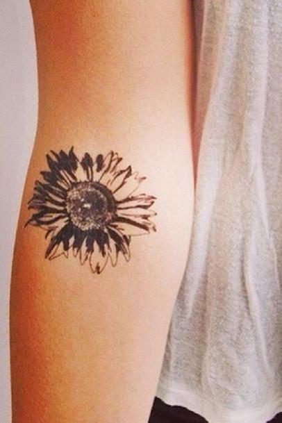 Simple Arm Sunflower Floral Flower Tattoo Ideas for Women at MyBodiArt.com