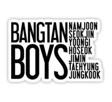 BTS/Bangtan Boys Names Sticker