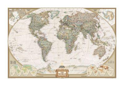 La carta da parati è un rivestimento murale in carta, tessuto di vetro o plastica, più raramente. World Political Map Executive Style Premium Poster At Art Com Idee Per Matrimoni Poster Carta