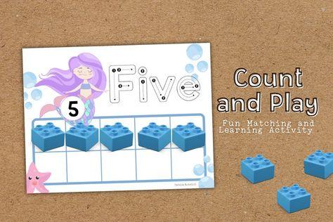 Mermaid Counting Educational Worksheets