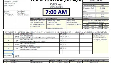 free production docs Shooting schedules \/ call sheets - call sheet template excel