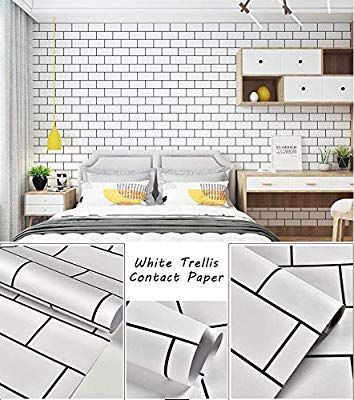 Trellis White Wallpaper White Wall Paper White Contact Paper Decorative Peel And Stick Wallpap White Brick Wallpaper Wall Wallpaper Brick Wallpaper
