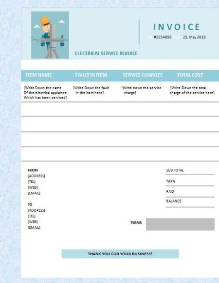Electrical Service Invoice Template 6 Readily Available And Customizable Templates Template Sumo Invoice Template Invoicing Templates