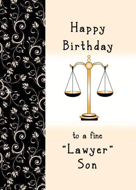 For Lawyer Son Birthday Greeting Card Scale Of Justice And Flourishes Card Ad Sponsored Birthday Birthday Greeting Cards Birthday Greetings Sons Birthday