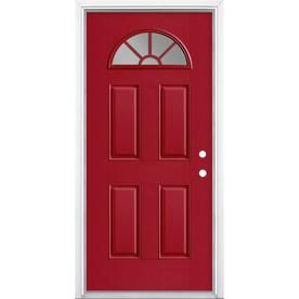 Masonite 1 4 Lite External Grille Left Hand Inswing Roma Red Painted Fiberglass Prehung Entry Door With Insulating Core Entry Doors Red Paint Painted Doors