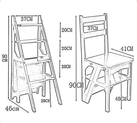 GBY Step Stool Four-Step Ladder Chair, Conversion Folding Library Step Ladder Kitchen Step Stool (Color : Brown): Amazon.ca: Home & Kitchen