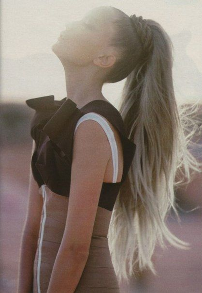 Long Pony Tail - Beautiful but I can only imagine the weight of that hair that high.  I would have a headache for a week.